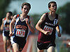 Timothy Courts, Manhasset senior, left, starts kicking in the boys 1,600 meter run during the Nassau County AA track and field championships at Glen Cove High School on Thursday, May 26, 2016. He came from behind to take the lead in the final 200 meters of the race and win with a time of 4:28.52.