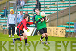 Rick Halpin of St Michaels Listowel marks Seamus Bastible of Mercy Mounthawk in the Final of Colaisti Na Mumham 2008/09 Corn an Runai Final at Austin Stack Park, Tralee on Wednesday..