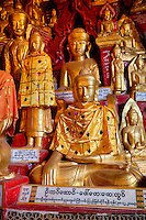 "Buddha Statues in Shwe Oo Min Cave, Pindaya, Shan State, Myanmar, Burma.  The Buddha in front demonstrates the bhumisparsha mudra (gesture), ""calling the earth to witness,"" with the right arm hanging down over the right knee, palm inward, fingers down, touching the earth.  The left hand rests in the lap, palm upward."