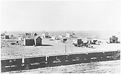 Elevated view of unknown town, D&amp;RG siding with box cars.<br /> D&amp;RG  possibly Mosca, CO