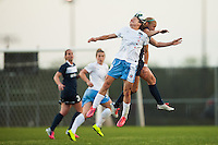 Chicago Red Stars midfielder Julianne Sitch (19) goes up for a header with Sky Blue FC defender Kendall Johnson (5). Sky Blue FC and the Chicago Red Stars played to a 1-1 tie during a National Women's Soccer League (NWSL) match at Yurcak Field in Piscataway, NJ, on May 8, 2013.