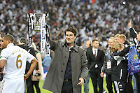 Pictured: Michael Laudrup with cup. Sunday 24 February 2013<br /> Re: Capital One Cup football final, Swansea v Bradford at the Wembley Stadium in London.