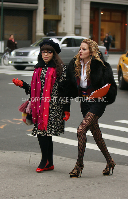 WWW.ACEPIXS.COM . . . . .  ....December 4 2008, New York City....Actors America Ferrera and Becki Newton were on the set of the hit TV show 'Ugly Betty' in downtown Manhattan on December 4 2008 in New York City....Please byline: AJ Sokalner - ACEPIXS.COM..... *** ***..Ace Pictures, Inc:  ..te: (646) 769 0430..e-mail: info@acepixs.com..web: http://www.acepixs.com