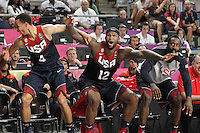 USA's Stephen Curry, DeMarcus Cousins and James Harden celebrate during 2014 FIBA Basketball World Cup Quarter-Finals match.September 9,2014.(ALTERPHOTOS/Acero)