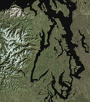 satellite image of Pudget Sound, Seattle, Olympic Mountains Washington