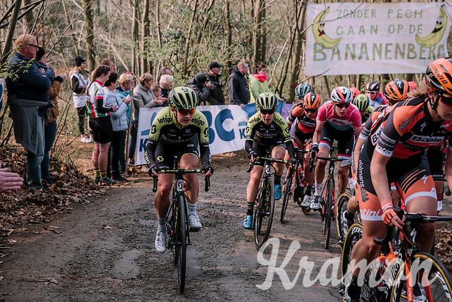 Grace Brown (AUS/Mitchelton-Scott) & Amanda Spratt (AUS/Mitchelton-Scott) climbing the Baneberg for the first time,<br /> <br /> 8th Gent-Wevelgem In Flanders Fields 2019 <br /> Elite Womens Race (1.WWT)<br /> <br /> One day race from Ypres (Ieper) to Wevelgem (137km)<br /> ©JojoHarper for Kramon