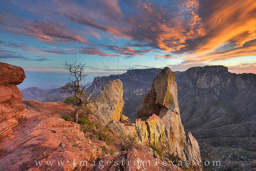 The trail isn't long - a little over 2 miles round trip, and the views at the top of Big Bend National Park's Lost Mine Trail are incredible. Here, you can peer south through Juniper Canyon as a glorious sunset brings an end to the day.
