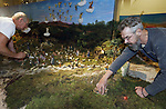 Foto: VidiPhoto<br /> <br /> HEILIG LANDSTICHTING &ndash; In Museumpark Orientalis (het voormalige Bijbels Openluchtmuseum) in Heilig Landstichting bij Nijmegen, werken de Friese vrienden Roel den Dulk en Fred van der Zwet (met baard) maandag aan de grootste kerstgroep van Europa, mogelijk zelfs van de wereld. Het opbouwen duurt twee weken. Wat 20 jaar geleden begon als een huiskamerhobby van 3 vierkante meter, beslaat nu een ruimte van 100 vierkante meter. In al die jaren is er nog nooit wat weggenomen. Orientalis verwacht met de 1800 mens- en dierfiguren en tal van andere objecten duizenden bezoekers extra te krijgen rond de Kerstdagen. Het kerstdiorama is vanaf 8 december te zien en wordt geroemd om zijn unieke opstelling met oog voor detail. Het herbergt bovendien veel verborgen oudchristelijke en voorchristelijke volkswijsheden en symbolieken (met uitleg). Ook zijn er humoristische tafereeltjes in verwerkt. Dit jaar is de opbouw bij Orientalis de laatste keer dat de kerstgroep bezichtigd kan worden: de twee mannen zijn toe aan wat rustigere kerstdagen. De complete diorama is te koop.