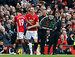 Marcus Rashford of Manchester United replaced by Zlatan Ibrahimovic of Manchester United during the English Premier League match at Old Trafford Stadium, Manchester. Picture date: April 16th 2017. Pic credit should read: Simon Bellis/Sportimage