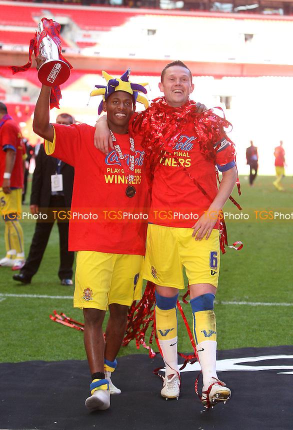 John Nurse (L) and Mark Arber of Dagenham celebrates with the Trophy - Dagenham & Redbridge vs Rotherham United - Coca Cola League Two Play-Off Final at Wembley Stadium -  30/05/10 - MANDATORY CREDIT: Gavin Ellis/TGSPHOTO - Self billing applies where appropriate - Tel: 0845 094 6026