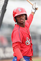 Ti'Quan Forbes (10) of the Spokane Indians before a game against the Everett AquaSox at Everett Memorial Stadium on July 25, 2015 in Everett, Washington. Spokane defeated Everett, 10-1. (Larry Goren/Four Seam Images)