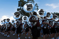 Game Day: MSU Football versus South Carolina. Famous Maroon Marching Band marches towards stadium.<br />  (photo by Megan Bean / &copy; Mississippi State University)