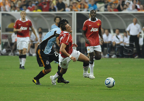 28 July 2010: Javier Hernandez (Chichorito) of Manchester United yells with pain as he is stepped on by Wilman Conde of the MLS All-Stars during the MLS All-Star game.  Manchester United defeated the MLS All-Stars 5-2 at Reliant Stadium in Houston, TX