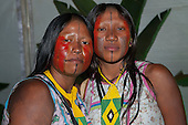 Two proud Kayapo indigenous women pose for a photo at the International Indigenous Games in Brazil. 28th October 2015