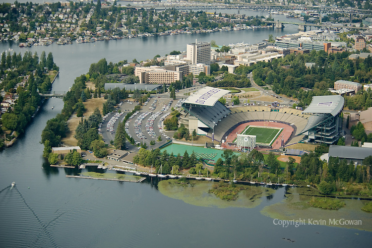 Aerial of Husky Stadium, SE campus at University of Washington Seattle