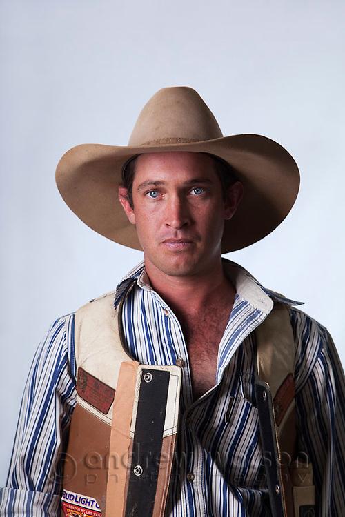 Portrait of a rodeo cowboy.  Mareeba Rodeo, Mareeba, Queensland, Australia