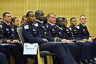 September 28, 2012  (Washington, DC)  Metropolitan Police recruits at swearing-in ceremony on September 28, 2012. The MPD held it's forth recruit class graduation at the police academy. Twenty-three regular officers and six reserve officers were sworn-in by Chief Cathy Lanier. (Photo by Don Baxter/Media Images International)