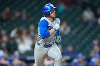 Ben Aklinski (52) of the Kentucky Wildcats starts down the first base line against the Houston Cougars in game two of the 2018 Shriners Hospitals for Children College Classic at Minute Maid Park on March 2, 2018 in Houston, Texas.  The Wildcats defeated the Cougars 14-2 in 7 innings.   (Brian Westerholt/Four Seam Images)
