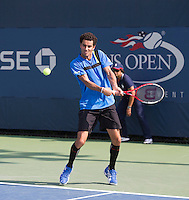 Andre Sa<br /> Tennis - US Open  - Grand Slam -  Flushing Meadows  2013 -  New York - USA - United States of America - Thursday 30th August 2013. <br /> &copy; AMN Images, 8 Cedar Court, Somerset Road, London, SW19 5HU<br /> Tel - +44 7843383012<br /> mfrey@advantagemedianet.com<br /> www.amnimages.photoshelter.com<br /> www.advantagemedianet.com<br /> www.tennishead.net