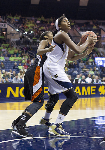 November 20, 2012:  Notre Dame forward Ariel Braker (44) goes up for a shot during NCAA Women's Basketball game action between the Notre Dame Fighting Irish and the Mercer Bears at Purcell Pavilion at the Joyce Center in South Bend, Indiana.  Notre Dame defeated Mercer 93-36.