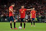 Spain's Marcos Alonso (L) and Thiago Alcantara (R) during UEFA Nations League 2019 match between Spain and England at Benito Villamarin stadium in Sevilla, Spain. October 15, 2018. (ALTERPHOTOS/A. Perez Meca)