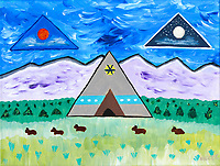This started out with playing with pyramids but the I couldn't seem to stay away from getting into my favorite genre, primitive art. I always find it intriguing indians of the west chose to design their homes in the form of pyramids. Many people believe pyramids to be power structures. The Sioux tribes refer to Star People in their legends hence the sun and the moon. And, of course, I couldn't resist buffalo fetishes resting in the grass.
