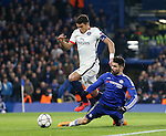 Chelsea's Diego Costa gets injured under the challenge of PSG's Thiago Silva<br /> <br /> - UEFA Champions League - Chelsea vs Paris Saint Germain - Stamford Bridge - London - England - 9th March 2016 - Pic David Klein/Sportimage