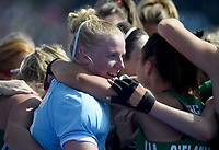 Ireland's Ayeisha McFerran celebrates her team getting into the final with team mates<br /> <br /> Photographer Hannah Fountain/CameraSport<br /> <br /> Vitality Hockey Women's World Cup - Ireland v Spain - Saturday 4th August 2018 - Lee Valley Hockey and Tennis Centre - Stratford<br /> <br /> World Copyright &copy; 2018 CameraSport. All rights reserved. 43 Linden Ave. Countesthorpe. Leicester. England. LE8 5PG - Tel: +44 (0) 116 277 4147 - admin@camerasport.com - www.camerasport.com