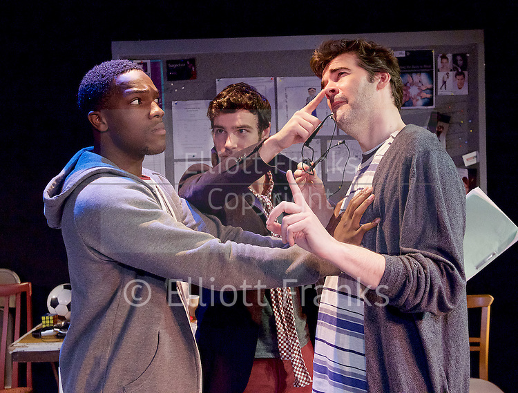 STOP! The Play <br /> by David Spicer <br /> at Trafalgar Studios, London, Great Britain <br /> press photocall <br /> 2nd June 2015 <br /> <br /> directed by John Schwab <br /> Produced by Tim Beckmann <br /> <br /> Tosin Cole as Kryston<br /> Ben Starr as Evelyn <br /> Adam Riches as Hugh <br /> <br /> <br /> Photograph by Elliott Franks <br /> Image licensed to Elliott Franks Photography Services