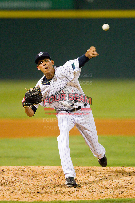 Charlotte Knights relief pitcher Santos Rodriguez (32) in action against the Indianapolis Indians at Knights Stadium on July 22, 2012 in Fort Mill, South Carolina.  The Indians defeated the Knights 17-1.  (Brian Westerholt/Four Seam Images)