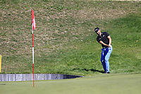 Lee Slattery (ENG) chips onto the 13th green during Sunday's Final Round 4 of the 2018 Omega European Masters, held at the Golf Club Crans-Sur-Sierre, Crans Montana, Switzerland. 9th September 2018.<br /> Picture: Eoin Clarke | Golffile<br /> <br /> <br /> All photos usage must carry mandatory copyright credit (&copy; Golffile | Eoin Clarke)