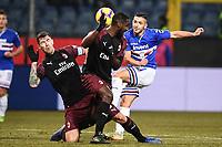 Gianluca Caprari Sampdoria (R), Cristian Zapata (c), Alessio Romagnoli Milan <br /> Genova 12-1-2019 Stadio Marassi <br /> Football Italy Cup 2018/2019 Sampdoria - Milan Foto Image Sport  / Insidefoto