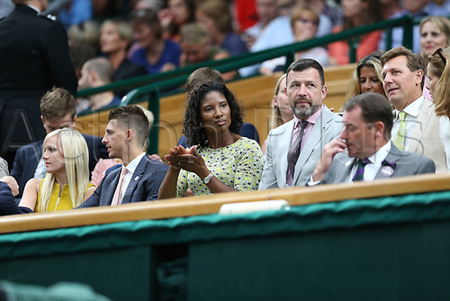 July 11th 2017, All England Lawn Tennis and Croquet Club, London, England; The Wimbledon Tennis Championships, Day 8; Denise Lewis watching from the royal box; Konta (GBR) versus Simona Halep (ROU)
