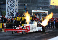 Oct 31, 2014; Las Vegas, NV, USA; NHRA top fuel driver T.J. Zizzo during qualifying for the Toyota Nationals at The Strip at Las Vegas Motor Speedway. Mandatory Credit: Mark J. Rebilas-USA TODAY Sports