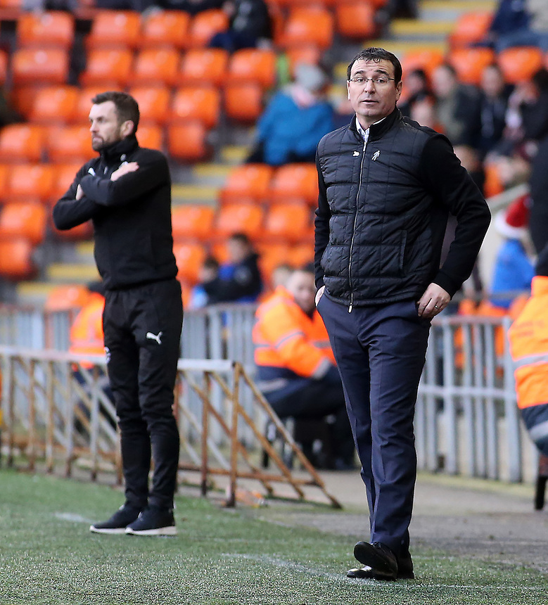 Blackpool manager Gary Bowyer looks on during the first half<br /> <br /> Photographer David Shipman/CameraSport<br /> <br /> The EFL Sky Bet League Two - Blackpool v Luton Town - Saturday 17th December 2016 - Bloomfield Road - Blackpool<br /> <br /> World Copyright &copy; 2016 CameraSport. All rights reserved. 43 Linden Ave. Countesthorpe. Leicester. England. LE8 5PG - Tel: +44 (0) 116 277 4147 - admin@camerasport.com - www.camerasport.com