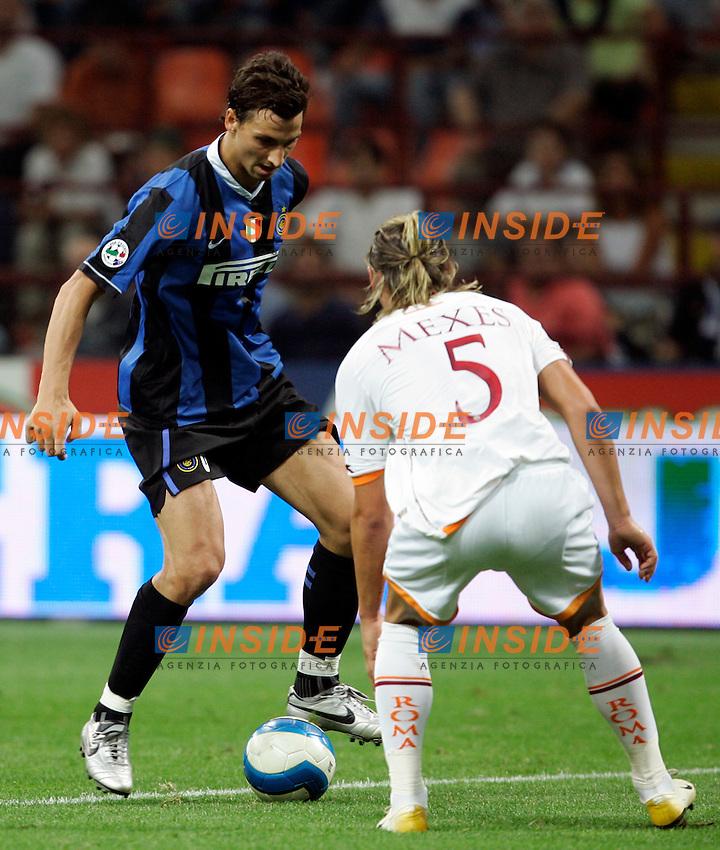 Milano 26/8/2006 Supercoppa Italiana Inter Roma 4-3<br /> Photo Andrea Staccioli INSIDE<br /> Zlatan IBRAHIMOVIC Inter and Philippe MEXES Roma