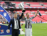 Millwall's Neil Harris and Tony Craig celebrate with the trophy during the League One Play-Off Final match at Wembley Stadium, London. Picture date: May 20th, 2017. Pic credit should read: David Klein/Sportimage