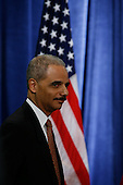 Chicago, IL - December 1, 2008 -- Eric Holder, President-elect Barack Obama's nominee for Attorney General, at a press conference to be introduced to the press Monday morning, December 1, 2008 at the Chicago Hilton & Towers in Chicago, Illinois..Credit: Anne Ryan - Pool via CNP