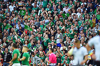 Ireland supporters in the crowd look on. Rugby World Cup Pool D match between Ireland and Romania on September 27, 2015 at Wembley Stadium in London, England. Photo by: Patrick Khachfe / Onside Images