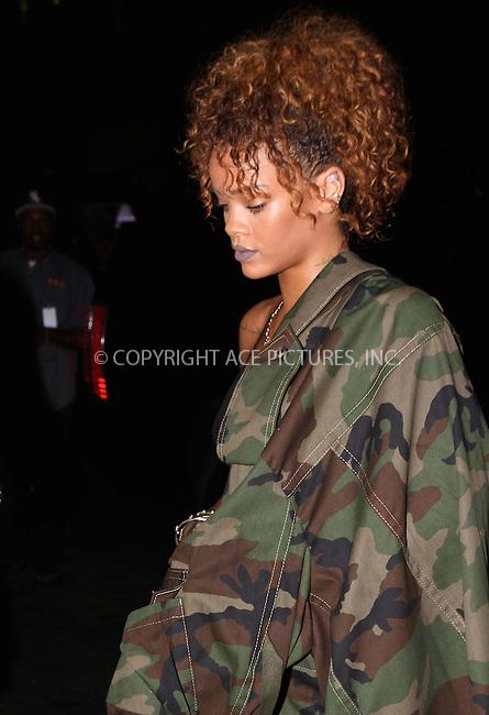 WWW.ACEPIXS.COM<br /> <br /> September 9 2015, New York City<br /> <br /> Singer Rihanna goes out in Manhattan on September 9 2015 in New York City<br /> <br /> By Line: Nancy Rivera/ACE Pictures<br /> <br /> <br /> ACE Pictures, Inc.<br /> tel: 646 769 0430<br /> Email: info@acepixs.com<br /> www.acepixs.com