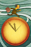 Illustrative image of businessman running on clock representing deadline