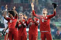 FUSSBALL  DFB-POKAL  ACHTELFINALE  SAISON 2012/2013    FC Augsburg - FC Bayern Muenchen        18.12.2012 Dante , Philipp Lahm, David Alaba, Thomas Mueller (v.li., FC Bayern Muenchen)