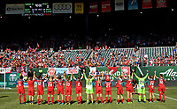 Portland, OR - Saturday September 02, 2017: Thorns salute fans during a regular season National Women's Soccer League (NWSL) match between the Portland Thorns FC and the Washington Spirit at Providence Park.