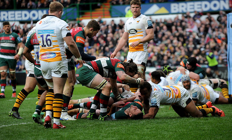 Leicester Tigers' Joe Ford celebrates scoring his side's first try<br /> <br /> Photographer Hannah Fountain/CameraSport<br /> <br /> Gallagher Premiership - Leicester Tigers v Wasps - Saturday 2nd March 2019 - Welford Road - Leicester<br /> <br /> World Copyright © 2019 CameraSport. All rights reserved. 43 Linden Ave. Countesthorpe. Leicester. England. LE8 5PG - Tel: +44 (0) 116 277 4147 - admin@camerasport.com - www.camerasport.com