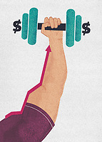 Strong arm lifting dollar dumbbell ExclusiveImage