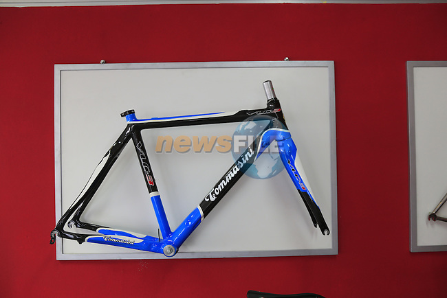 Carbon frame on display in the showroom at the Tommasini factory based in Grosseto, Tuscany, Italy 6th March 2017.<br /> Picture: Eoin Clarke | Newsfile<br /> <br /> <br /> All photos usage must carry mandatory copyright credit (© Newsfile | Eoin Clarke)