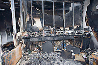 Microware burnt out following school fire UK..©shoutpictures.com..john@shoutpictures.com