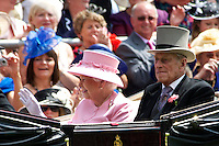 Queen Elisabeth II and Prince Philip, The Duke of Edinburgh Attend The Second Day Of Royal Ascot on June 20, 2012 in Ascot, England. The five-day meeting is one of the highlights of the horse racing calendar and The Season. Thousands of race fans are expected to attend the five day meeting.<br /> <br /> Photo: Billy Chappel / ALFAQUI