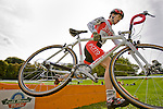 September 26, 2010 - Canadian cyclist Peter Morse hurdles an obstacle in the Union Cycliste Internationale cyclocross race at Ellison Park. Riding for Jet Fuel Coffee, Morse finishes 14th out of 24 competitors.