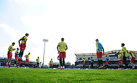 Blackburn Rovers during the pre-match warm-up <br /> <br /> Photographer Ashley Crowden/CameraSport<br /> <br /> The EFL Sky Bet League One - Bristol Rovers v Blackburn Rovers - Saturday 14th April 2018 - Memorial Stadium - Bristol<br /> <br /> World Copyright &copy; 2018 CameraSport. All rights reserved. 43 Linden Ave. Countesthorpe. Leicester. England. LE8 5PG - Tel: +44 (0) 116 277 4147 - admin@camerasport.com - www.camerasport.com